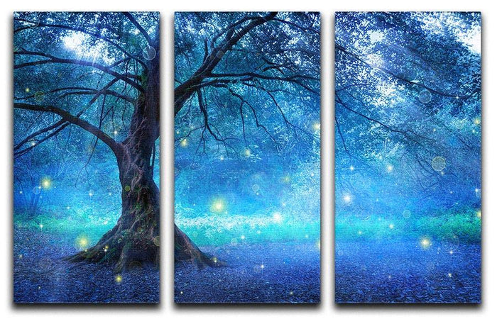 Fairy Tree In Mystic Forest 3 Split Panel Canvas Print
