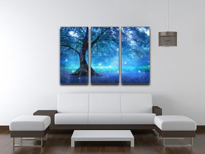 Fairy Tree In Mystic Forest 3 Split Panel Canvas Print - Canvas Art Rocks - 3