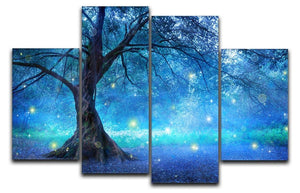 Fairy Tree In Mystic Forest 4 Split Panel Canvas  - Canvas Art Rocks - 1