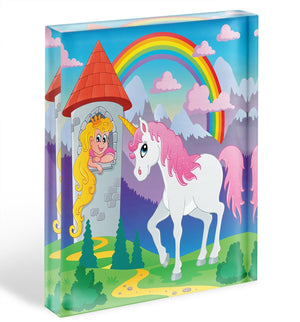 Fairy tale unicorn Acrylic Block - Canvas Art Rocks - 1