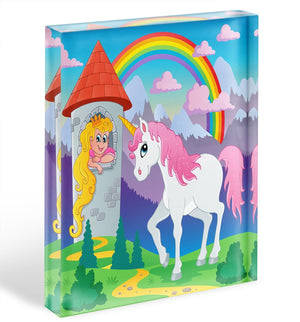 Fairy tale unicorn theme Acrylic Block - Canvas Art Rocks - 1