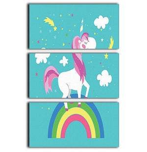 Fairy unicorn with rainbow 3 Split Panel Canvas Print - Canvas Art Rocks - 1
