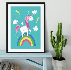 Fairy unicorn with rainbow Framed Print - Canvas Art Rocks - 1