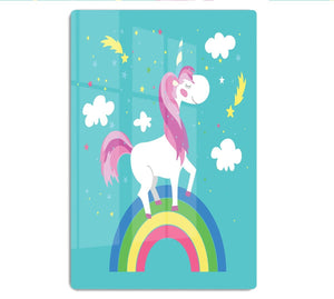 Fairy unicorn with rainbow HD Metal Print