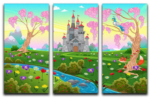 Fairytale scenery with castle 3 Split Panel Canvas Print - Canvas Art Rocks - 1