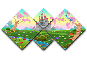 Fairytale scenery with castle 4 Square Multi Panel Canvas  - Canvas Art Rocks - 1