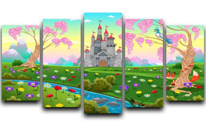 Fairytale scenery with castle 5 Split Panel Canvas  - Canvas Art Rocks - 1