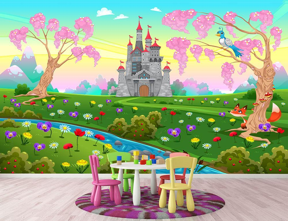Fairytale Scenery With Castle Wall Mural Wallpaper