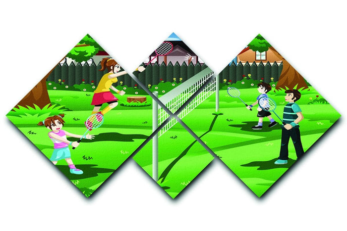 Family playing badminton in the backyard 4 Square Multi Panel Canvas