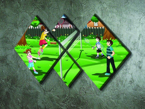 Family playing badminton in the backyard 4 Square Multi Panel Canvas - Canvas Art Rocks - 2