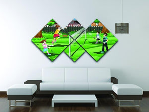 Family playing badminton in the backyard 4 Square Multi Panel Canvas - Canvas Art Rocks - 3