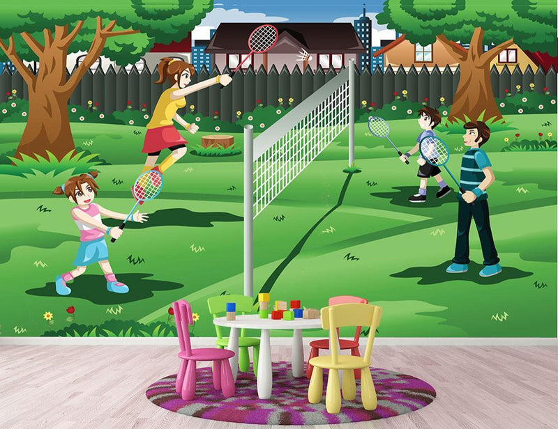 Family playing badminton in the backyard Wall Mural Wallpaper - Canvas Art Rocks - 1