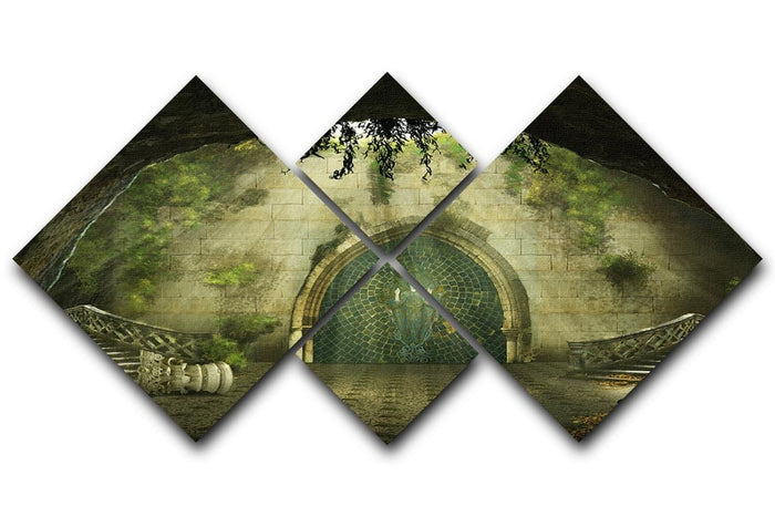 Fantasy cave 4 Square Multi Panel Canvas