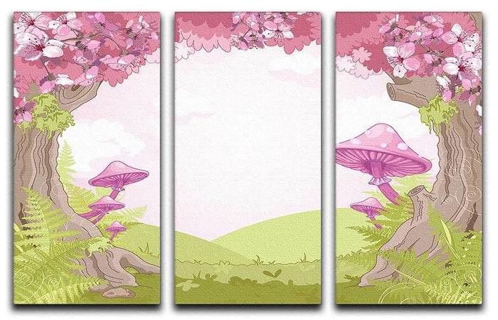 Fantasy landscape with mushrooms 3 Split Panel Canvas Print