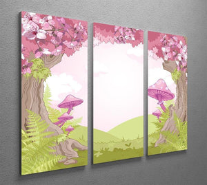 Fantasy landscape with mushrooms 3 Split Panel Canvas Print - Canvas Art Rocks - 2