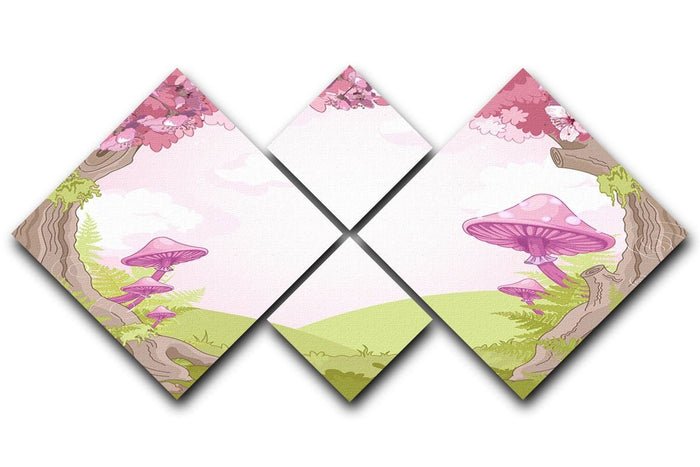 Fantasy landscape with mushrooms 4 Square Multi Panel Canvas