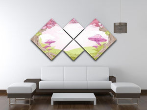 Fantasy landscape with mushrooms 4 Square Multi Panel Canvas - Canvas Art Rocks - 3