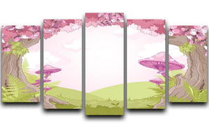 Fantasy landscape with mushrooms 5 Split Panel Canvas  - Canvas Art Rocks - 1