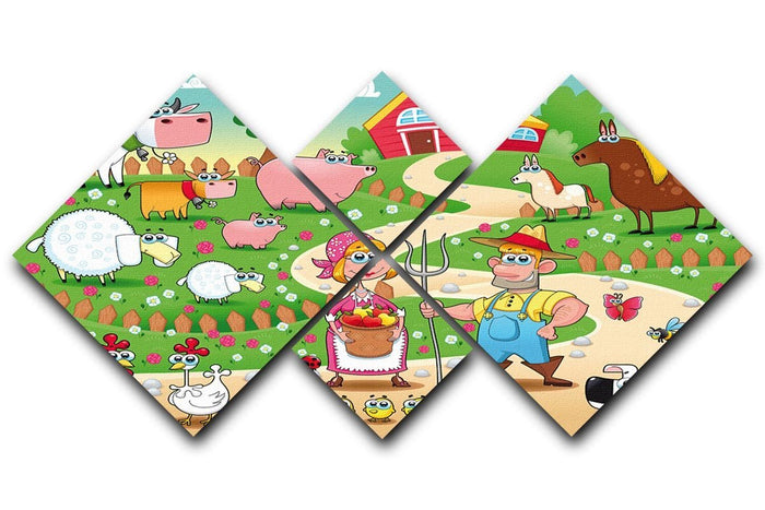 Farm Family 4 Square Multi Panel Canvas