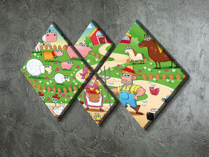 Farm Family 4 Square Multi Panel Canvas - Canvas Art Rocks - 2