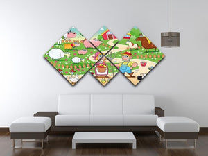 Farm Family 4 Square Multi Panel Canvas - Canvas Art Rocks - 3