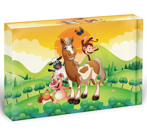 Farm animals in the field Acrylic Block - Canvas Art Rocks - 1