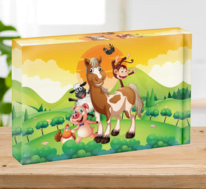 Farm animals in the field Acrylic Block - Canvas Art Rocks - 2