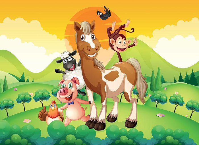 Farm animals in the field Wall Mural Wallpaper