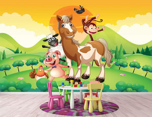Farm animals in the field Wall Mural Wallpaper - Canvas Art Rocks - 2