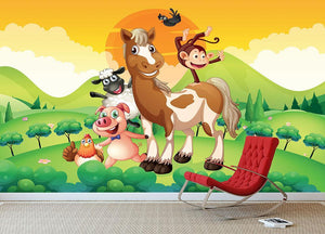Farm animals in the field Wall Mural Wallpaper - Canvas Art Rocks - 3