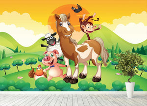 Farm animals in the field Wall Mural Wallpaper - Canvas Art Rocks - 4