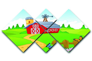Farm cartoon background 4 Square Multi Panel Canvas  - Canvas Art Rocks - 1