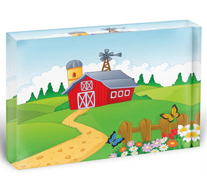 Farm cartoon background Acrylic Block - Canvas Art Rocks - 1