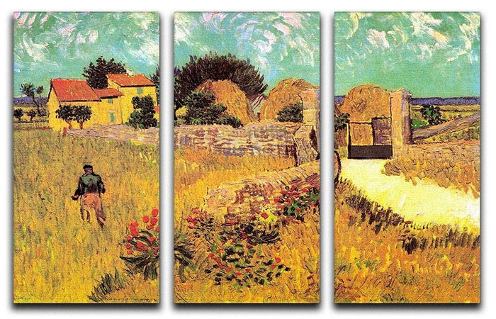 Farmhouse in Provence by Van Gogh 3 Split Panel Canvas Print