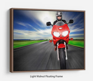 Fast Red Motorbike Floating Frame Canvas