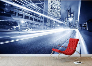 Fast moving cars lights blurred city Wall Mural Wallpaper - Canvas Art Rocks - 2