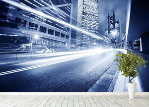 Fast moving cars lights blurred city Wall Mural Wallpaper - Canvas Art Rocks - 4