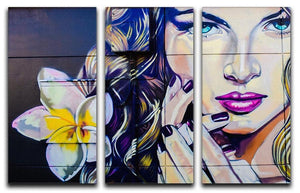 Femme Fatale Graffiti 3 Split Panel Canvas Print - Canvas Art Rocks - 1