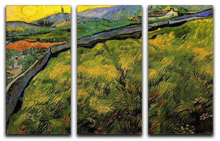 Field of Spring Wheat at Sunrise by Van Gogh 3 Split Panel Canvas Print