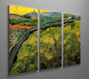 Field of Spring Wheat at Sunrise by Van Gogh 3 Split Panel Canvas Print - Canvas Art Rocks - 4