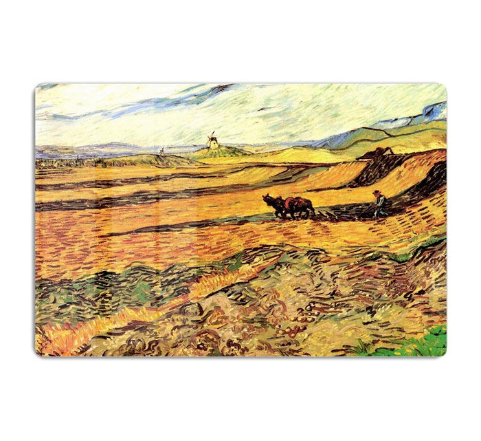 Field with Ploughman and Mill by Van Gogh HD Metal Print