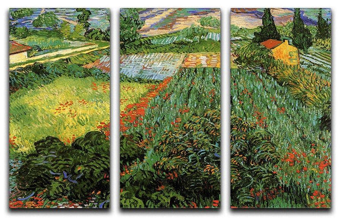 Field with Poppies by Van Gogh 3 Split Panel Canvas Print
