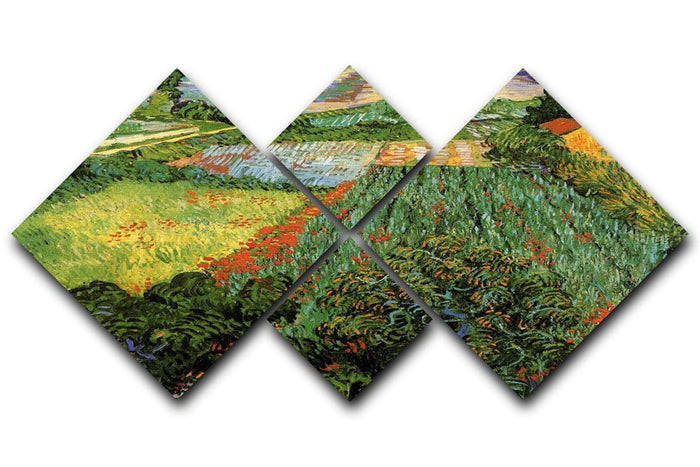 Field with Poppies by Van Gogh 4 Square Multi Panel Canvas