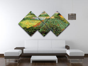 Field with Poppies by Van Gogh 4 Square Multi Panel Canvas - Canvas Art Rocks - 3