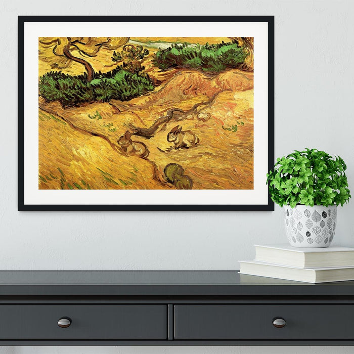 Field with Two Rabbits by Van Gogh Framed Print