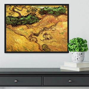 Field with Two Rabbits by Van Gogh Framed Print - Canvas Art Rocks - 2