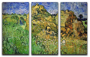 Field with Wheat Stacks by Van Gogh 3 Split Panel Canvas Print - Canvas Art Rocks - 4