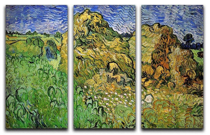 Field with Wheat Stacks by Van Gogh 3 Split Panel Canvas Print