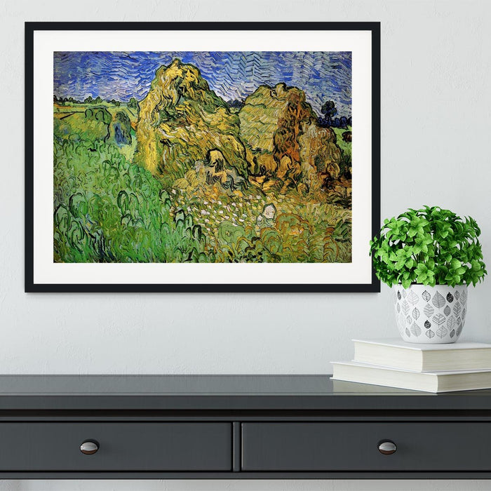 Field with Wheat Stacks by Van Gogh Framed Print