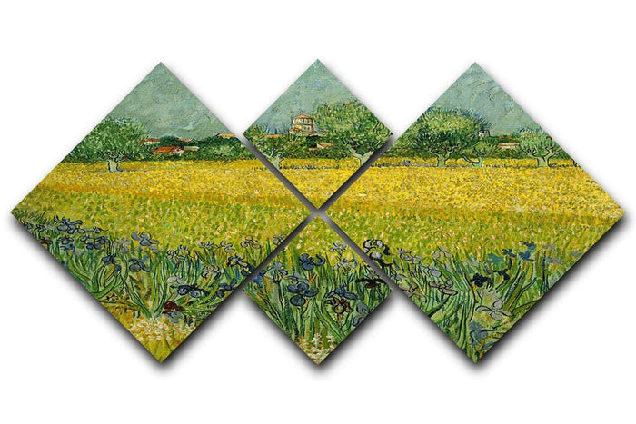 Field with flowers near Arles 4 Square Multi Panel Canvas